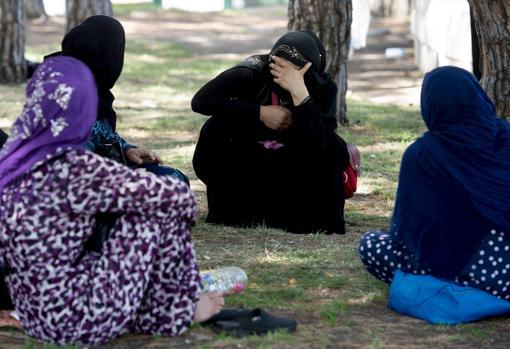 Las refugiadas sirias charlan cobijadas bajo las sombras de los árboles