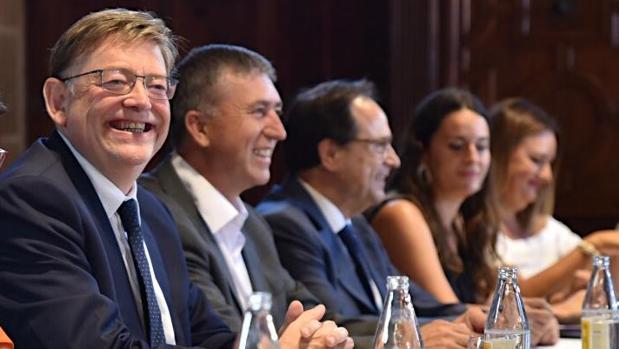 Ximo Puig, este lunes en la reunión de la Mesa de Diálogo Social