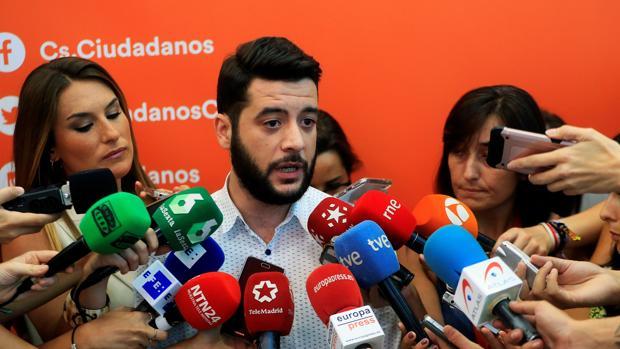 César Zafra, secretario de Organización de Cs-Madrid, ayer
