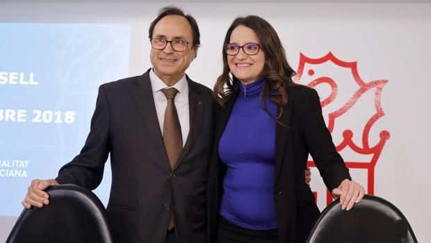 Vicent Soler y Mónica Oltra, durante la presentación de los pasados presupuestos