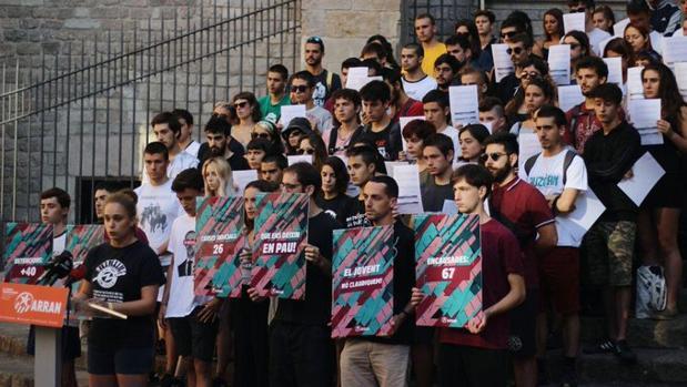 Momento de la rueda de prensa de Arran en Barcelona