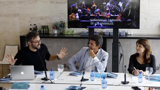 Josep Vicent, Carlos Mazón y Julia Parra, en la presentación del programa del ADDA