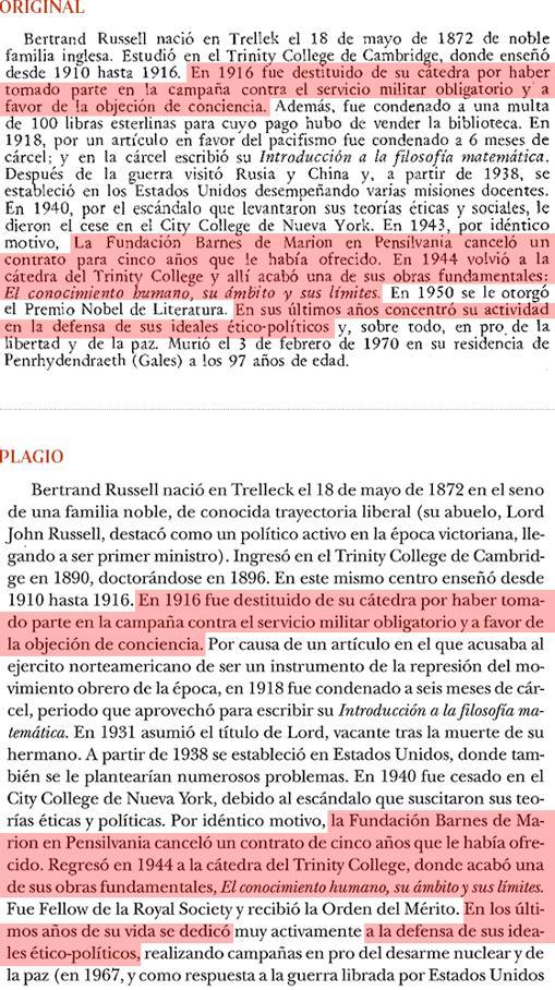 Plagio del libro de Cruz (pág. 27 ) a «Historia de la Filosofía», de Nicola Abbagnano (pág. 627)