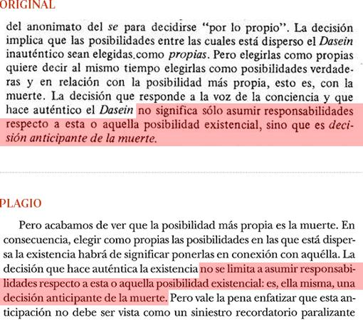Plagio del libro de Cruz (pág. 193) a «Introducción a Heidegger», de G. Vattimo (pág. 53)