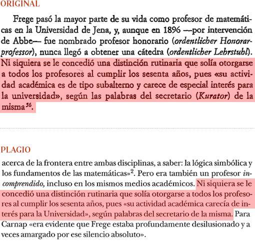 Plagio de Manuel Cruz (pág. 21) a «Los lógicos», de Jesús Mosterín (pág. 84)