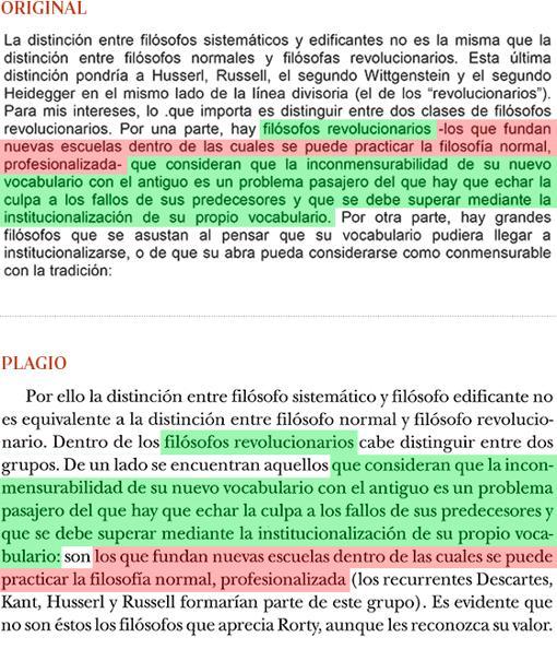 Plagio de Manuel Cruz (pág. 306) a «La filosofía y el espejo de la naturaleza», de Richard Rorty