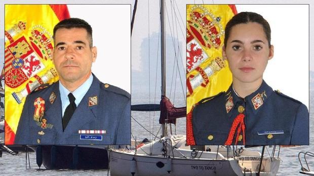 Imagen del lugar del accidente y foto de los dos militares fallecidos