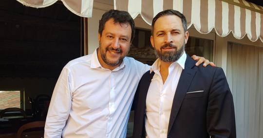 Salvini y Abascal, en la foto que compartió el líder de Vox tras su reunión en Roma