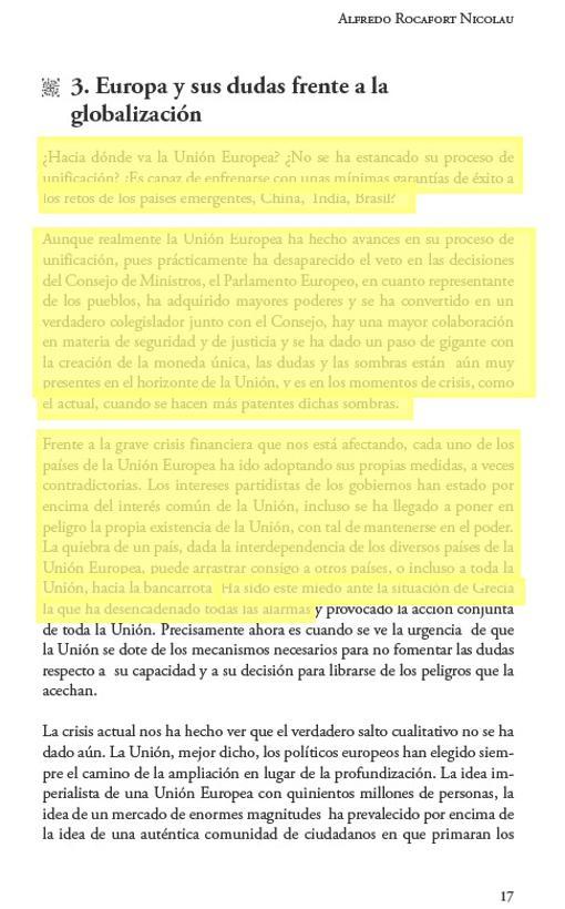 Una de las 95 páginas del libro de Rocafort, que después plagió su mujer en su tesis