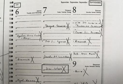 Agenda de Zaplana en la que figura una reunión con Juan Cotino