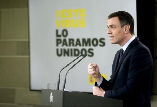 El presidente del Gobierno, Pedro Sánchez, en la comparecencia posterior al Consejo de Ministros del 17 de marzo
