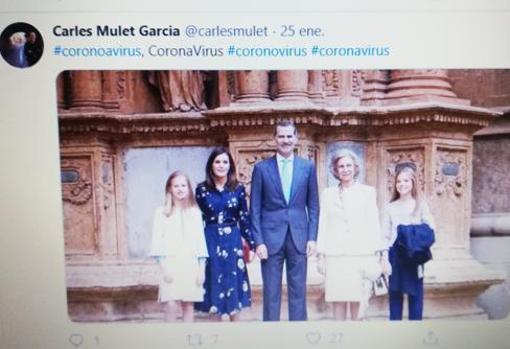 Imagen del tuit publicado por el senador de Compromís el 25 de enero