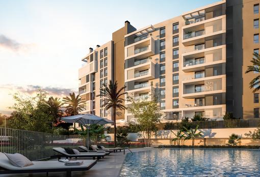 Una de las promociones de AEDAS Home con piscina