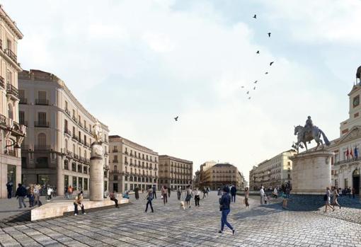 Recreación del proyecto de Linazasoro y Sánchez para reformar la Puerta del Sol