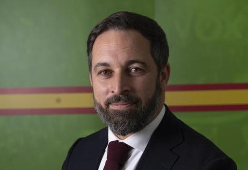 Santiago Abascal, en la sede nacional de Vox