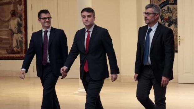 Bolaños, Redondo y Oliver, en la toma de posesión en La Moncloa