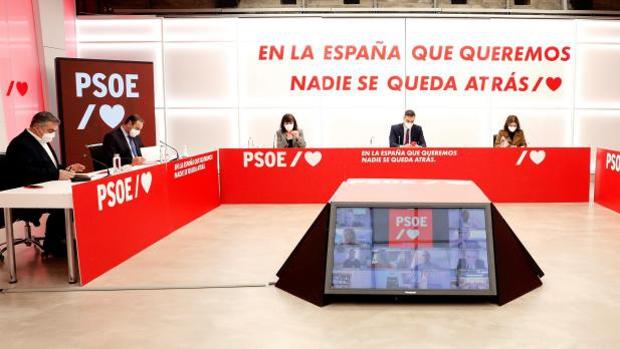 Imagen de la cúpula del PSOE en una reunión en Ferraz