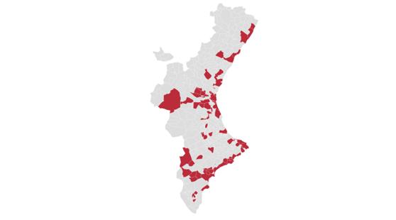 Imagen de los municipios con toque de queda en la Comunidad Valenciana