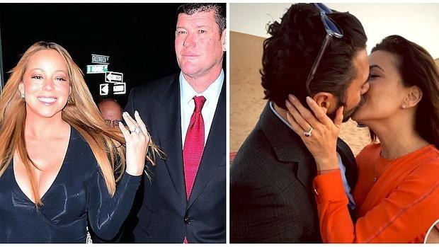 Mariah Carey con James Packer; a la derecha, Eva Longoria besa a su prometido, Pepe Bastón