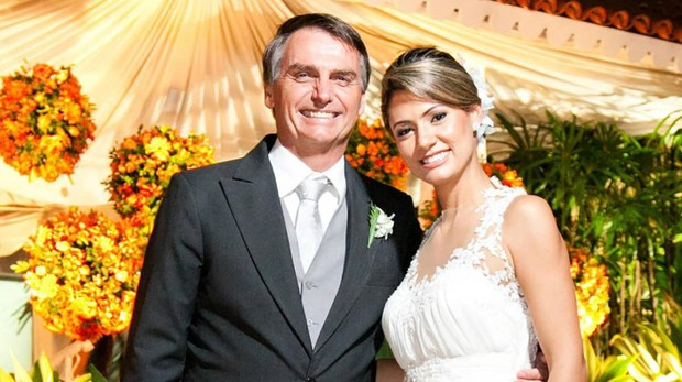 Jair y Michelle Bolsonaro, el día de su boda religiosa en 2013