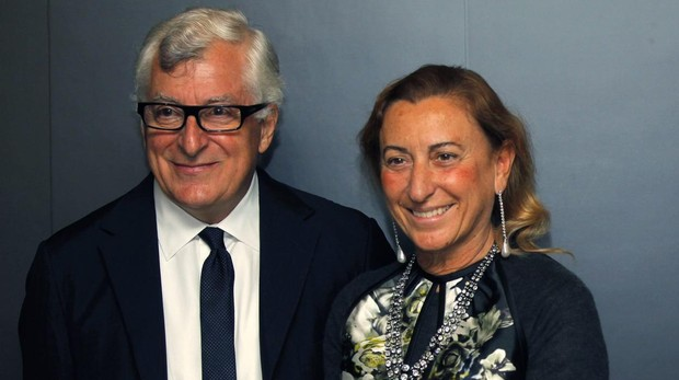 Miuccia Prada junto a su marido, Patrizio Bertelli