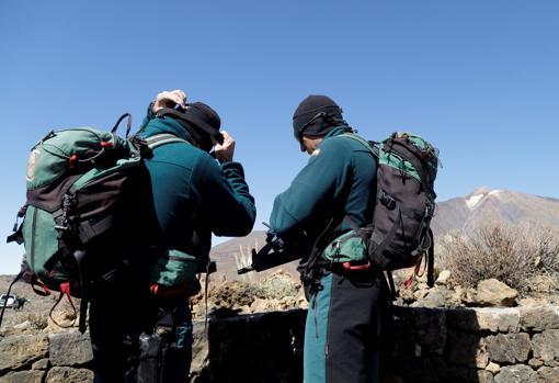 Dispositivo especial de la Guardia Civil, en el Teide