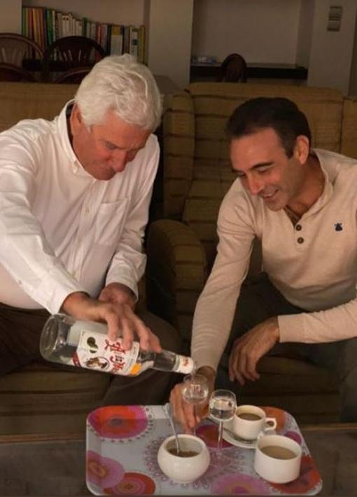 Enrique Ponce with Ana Soria's father, Federico Soria