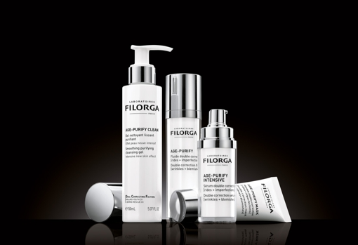 Filorga Age Purify is a range that treats both wrinkles and blemishes typical of oily and combination skin.  In its formula a patent, Dual-Correcting Factors that combines two complexes, Hyaluro Youth CX, which fills wrinkles, smoothes and stimulates collagen synthesis, and Dermo-Rescue CX, which balances, performs a micro-peeling (thanks to acid glycolic, azelaic, mandelic and citric) and controls blemishes.