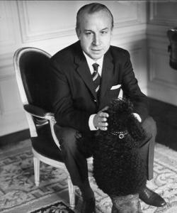 Castillo, with his dog, at his home in Paris, in 1965