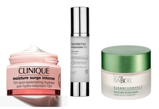 From left to right: Clinique Moisture Surge Intense 72 Hour Facial Moisturizer (€ 36);  Hydrating gel cream for combination skin Hidraderm TRX by Sesderma (€ 38.36) and Moisture Glow Cream daily facial moisturizer by Dr Babor (€ 44).