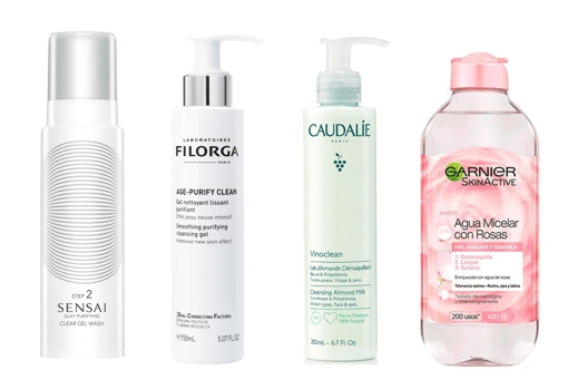 From left to right: Silky Purifying Clean Gel Wash by Sensai (€ 59), Filorga Age Purify Clean Gel (€ 24.90), Caudalie Vinoclean Almond Cleansing Milk (€ 15.50), and Water Garnier Micellar with Roses (€ 4.95).