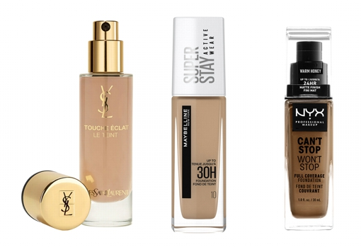 From left to right: Yves Saint Laurent Touche Éclat Le Teint anti-fatigue makeup base (€ 52.99);  Maybelline SuperStay Active Wear 36 Hrs Foundation (€ 13.99);  Can & # 039; t Stop, Won & # 039; t Stop Foundation by NYX Cosmetics (€ 16.90).