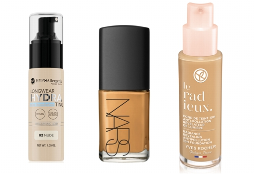From left to right: Bell Hypoallergenic Long Wear Hydrating Hypoallergenic Foundation (€ 9.99);  Nars Sheer Glow Foundation Transparent Foundation (€ 48.99);  10H anti-pollution makeup foundation & amp;  Le Radieux by Yves Rocher (€ 16.95).