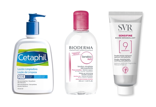 From left to right: Cetaphil cleansing lotion for sensitive skin (€ 20.35);  Soothing micellar water for sensitive skin Sensibio H2O by Bioderma (€ 11.95);  Make-up remover balm for sensitive skin Sensifine by SVR (€ 14.50).