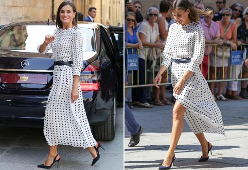 Queen Letizia in a Massimo Dutti dress during an event held in Salamanca in 2018