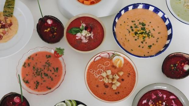 Variantes de recetas de gazpachos cuyo color se parece a su ingrediente estrella
