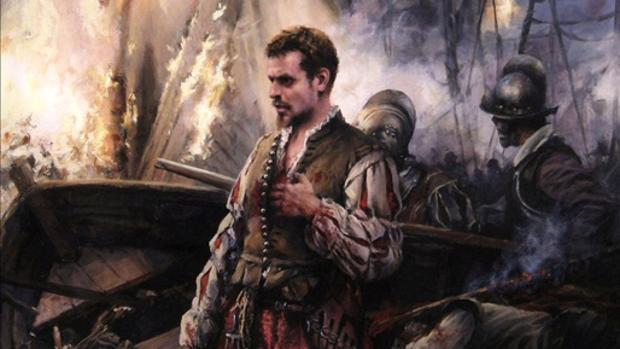 Cuadro de Augusto Ferrer Dalmau que muestra a un Miguel de Cervantes joven