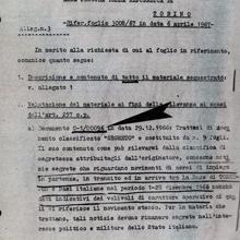 Documento del SID que certifica que entre la documentación hallada a Girard y el matrimonio Rinaldi se encontraban planes de vuelo de la base OTAN de Aviano