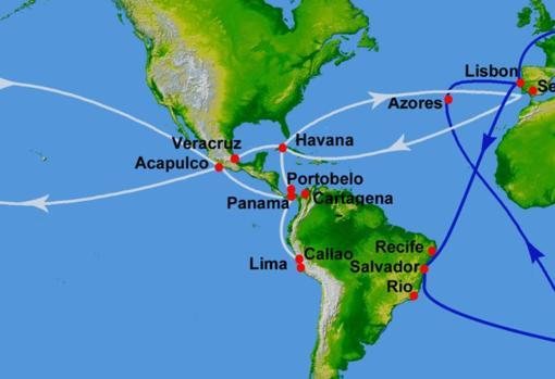 A la izquierda del mapa, la ruta que realizada el Galeón de Manila cada año, ida y vuelta