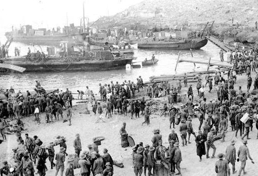 Imagen del 8 de septiembre tras el desembarco de las tropas españolas en Alhucemas
