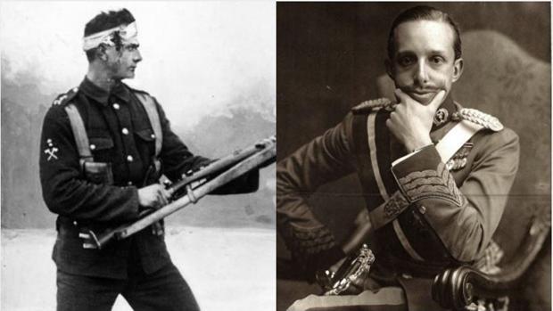 Alfonso XIII (derecha), junto a un soldado de la Primera Guerra Mundial