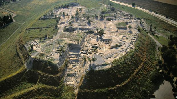 Vista aérea del yacimiento de Megido, en la actualidad