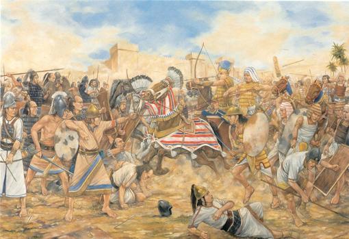Representación de la batalla de Tutmosis III, en Megido, en el siglo XV a. C.