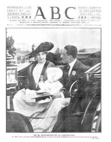 La imagen de los Reyes, con la infanta Beatriz al llegar al hipódromo, ocupa la portada de ABC el 15 de junio de 1912