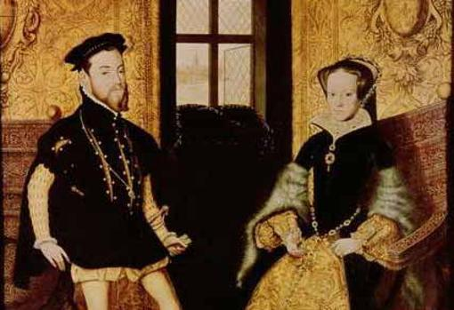 María y su esposo Felipe. Cuadro por Hans Eworth
