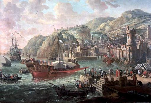 Galleys and other ships in an Italian port.  Painted by Jacob Knyff (1638-1681)