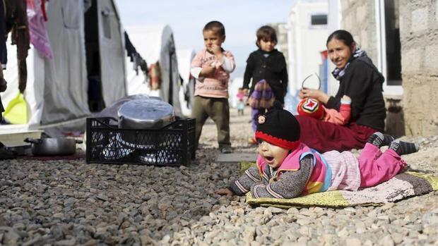 Un grupo de refugiados yazidíes en Irak
