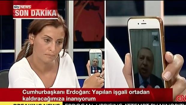 Erdogan durante sus declaraciones mediante videoconferencia en la CNN de Turquía