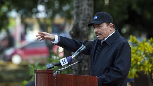 Daniel Ortega habla durante el homenaje póstumo este viernes