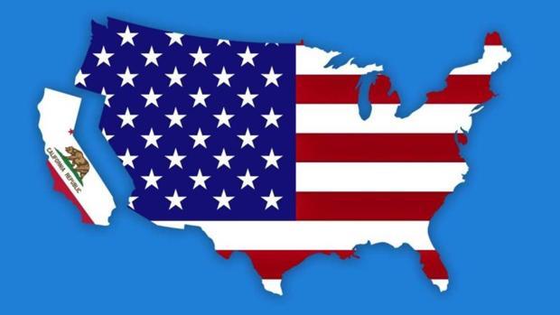 Imagen que muestra el mapa de California separado del mapa del resto de Estados Unidos